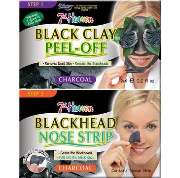 7th Heaven – Charcoal Duo Black Clay Peel Off węglowa maseczka do twarzy 6ml + Blackhead Nose Strip oczyszczający pasek na nos (1 szt.)