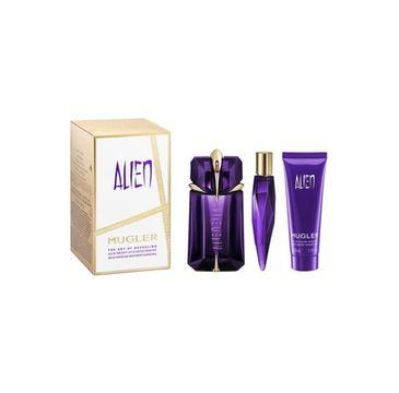 Mugler Alien zestaw woda perfumowana spray 60ml + balsam do ciała 50ml + miniatura wody perfumowanej 10ml