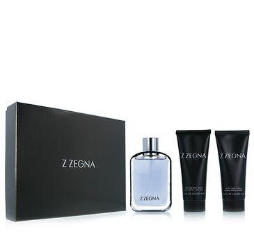 """Ermenegildo Zegna """"Z"""" zestaw woda toaletowa spray 100ml + balsam po goleniu 100ml + żel pod prysznic 100ml"""