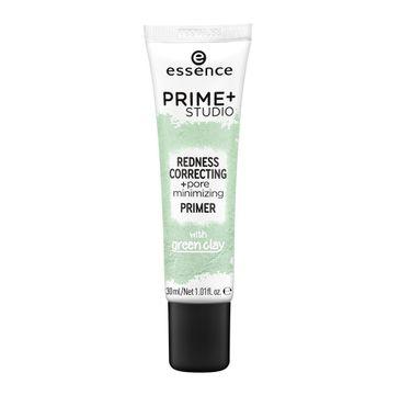 Essence Prime + Studio Redness Correcting + pore minimizing Primer baza korygująca z zieloną glinką (30 ml)