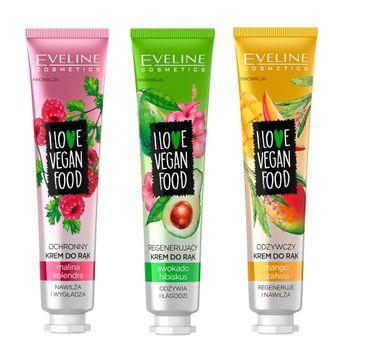 Eveline Cosmetics I Love Vegan Food Hand Cream zestaw ochronny krem do rąk Malina & Kolendra 6x50ml + regenerujący krem do rąk Awokado & Hibiskus 6x50ml + odżywczy krem do rąk Mango & Szałwia 6x50ml (1 szt.)