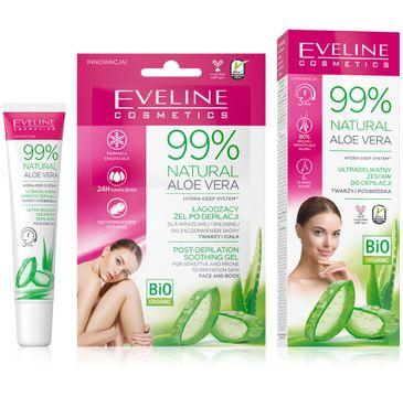 Eveline Natural Aloe Vera 99% krem do depilacji twarzy+łagodzący żel po depilacji (1 szt.)