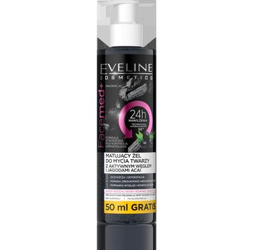 Eveline Facemed+ – matujący żel do mycia twarzy 3w1 z aktywnym węglem (200 ml)