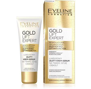 Eveline Gold Lift Expert – krem-serum na twarz szyję i dekolt ujędrniające (40 ml)