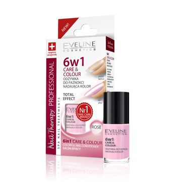 Eveline Nail Therapy (lakier odżywka 6w1 Care & Colour Rose do paznokci 5 ml)