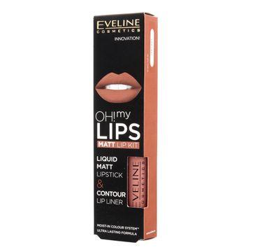 Eveline OH! My Lips – zestaw do makijażu ust (pomadka + konturówka) nr 01 Neutral Nude (1 op.)