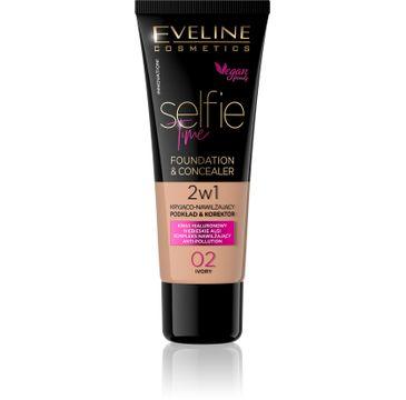 Eveline Selfie Time – podkład 2w1 kryjąco-nawilżający nr 02 Ivory (30 ml)