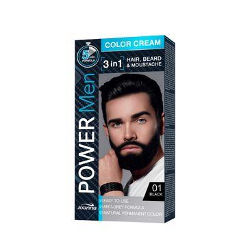 Joanna Power Men Color Cream Farba do włosów 3in1 dla mężczyzn nr 01 Black 100 g