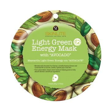 Skinlite Light Green Energy Mask – nawilżająco-liftingująca maska w płachcie z ekstraktem z awokado (20 g)