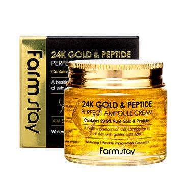 Farm Stay – 24K Gold & Peptide Perfect Ampoule Cream ampułka do twarzy z 24-karatowym złotem i peptydami (80 ml)
