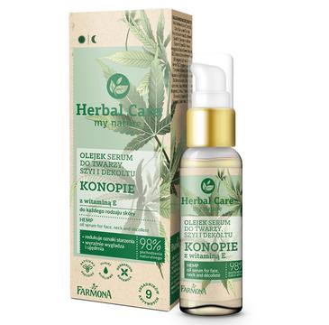 Herbal Care Olejek -serum do twarzy, szyi i dekoltu Konopie z witaminą E do każdego rodzaju skóry (50 ml)