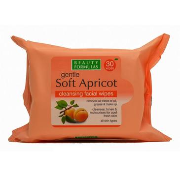 Beauty Formulas – Soft Apricot Cleansing Facial Wipes oczyszczające chusteczki morelowe (30 szt.)