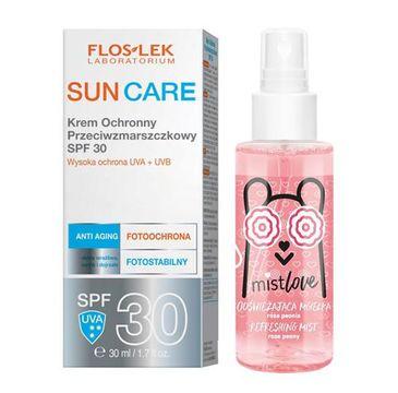Floslek Sun Care Krem ochronny przeciwzmarszczkowy Spf 30 30 ml + Mistlove Odświeżająca mgiełka 30 ml (1 szt.)