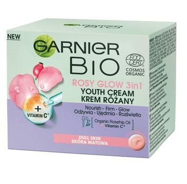 Garnier – Bio Rosy Glow 3in1 Youth Cream krem różany przeciw oznakom starzenia dla skóry matowej (50 ml)