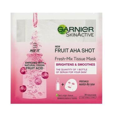 Garnier – Fruit Aha Shot Fresh-Mix Tissue Mask intensywnie nawilżająca maska w płachcie z kwasem owocowym AHA (33 g)