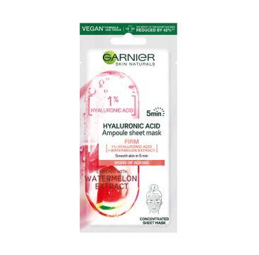 Garnier – Hyaluronic Acis Ampoule Sheet Mask ampułka ujędrniająca w masce na tkaninie z kwasem hialuronowym i ekstraktem z arbuza (15 g)