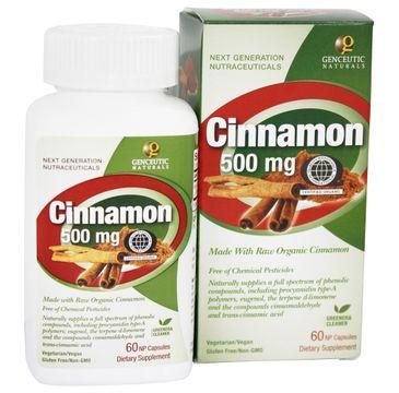 Genceutic Naturals Cinnamon 500mg organiczny cynamon suplement diety 60 kapsułek