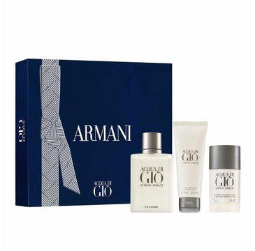 Giorgio Armani Acqua Di Gio Pour Homme zestaw woda toaletowa spray 100ml + dezodorant sztyft 75ml + balsam po goleniu 75ml