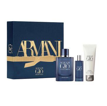 Giorgio Armani – Acqua di Gio Profondo zestaw woda perfumowana spray 75ml + woda perfumowana 15ml + żel pod prysznic 75ml (1 szt.)