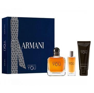 Giorgio Armani Stronger With You zestaw woda toaletowa spray 100ml + woda toaletowa 15ml + żel pod prysznic 75ml (1 szt.)