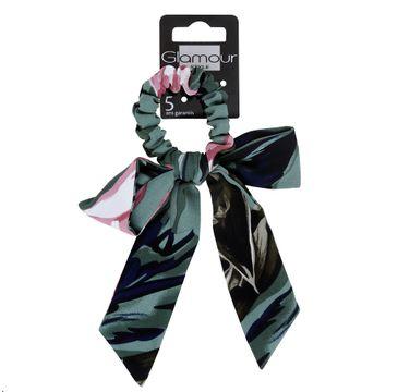 Glamour Green Collection gumka do włosów z kwiatową kokardą (1 szt.)