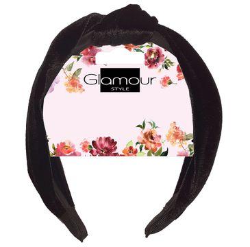 Glamour Opaska do włosów z węzłem welurowa Czarna (1 szt.)