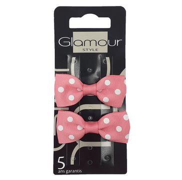 Glamour Spinki do włosów z kokardą Różowe (2 szt.)
