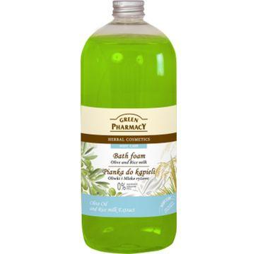 Green Pharmacy pianka do kąpieli oliwki & mleko ryżowe 1000 ml