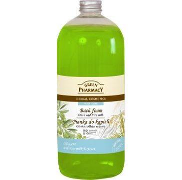 Green Pharmacy płyn do kąpieli oliwki & mleko ryżowe 1000 ml