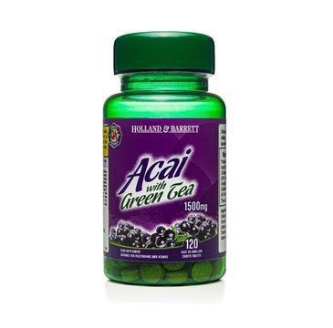 Holland & Barrett Jagody Acai 1500mg z zieloną herbatą suplement diety 120 tabletek