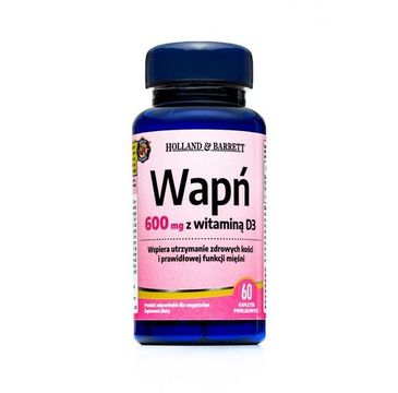 Holland & Barrett Wapń 600mg z witaminą D3 suplement diety 60 tabletek