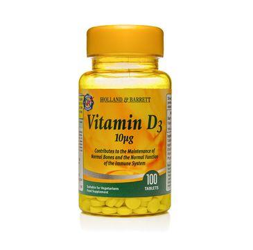 Holland & Barrett Witamina D3 10ug suplement diety 100 tabletek