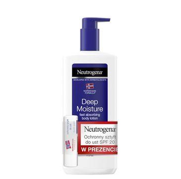 Neutrogena – Głęboko nawilżająca emulsja do ciała  + Pomadka ochronna do ust SPF20 (400 ml)
