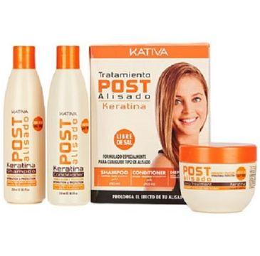 Kativa Keratina Straightening Post Treatment zestaw szampon 250ml + odżywka 250ml + maska 250ml