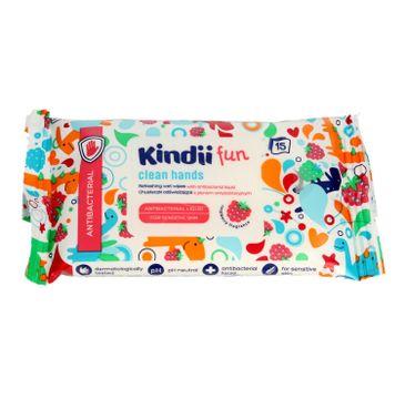 Kindii – Fun Antibacterial chusteczki odświeżające z płynem antybakteryjnym (1 op.-15 szt.)