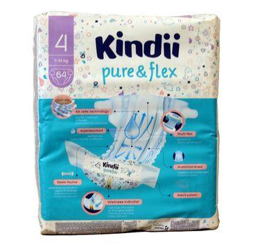 Kindii Pure & Flex Pieluchy jednorazowe 4 (7-14kg) 1 op. - 64 szt.