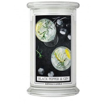 Kringle Candle Duża świeca zapachowa z dwoma knotami Black Pepper Gin (623 g)