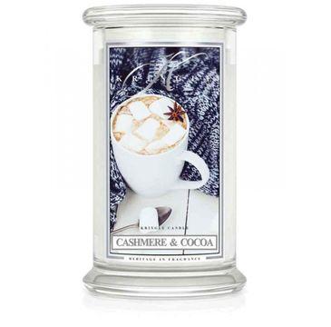 Kringle Candle Duża świeca zapachowa z dwoma knotami Cashmere & Cocoa (623 g)