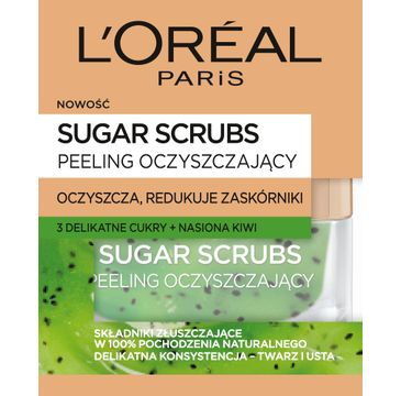L'Oreal Sugar Scrubs peeling do twarzy odżywczy 3 cukry + nasiona kiwi 50 ml