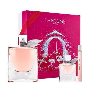 Lancome – La Vie Est Belle zestaw woda perfumowana spray 100ml + woda perfumowana spray 10ml + miniatura wody perfumowanej 4ml (1 szt.)