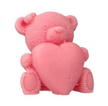 LaQ Mydełko glicerynowe Duży Miś z Sercem - różowy 120 g