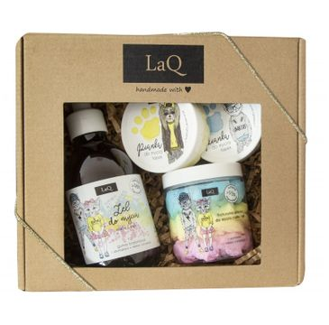 LaQ zestaw kosmetyków dla dzieci żel do kąpieli (300 ml) + pianka do mycia ciała (250 ml) + 2 x pianka do mycia łapek (2x50 ml)
