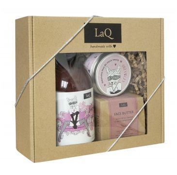 LaQ zestaw kosmetyków dla kobiet – żel pod prysznic (500 ml) + mus do mycia twarzy (100 ml) + masełko do twarzy (50 ml)