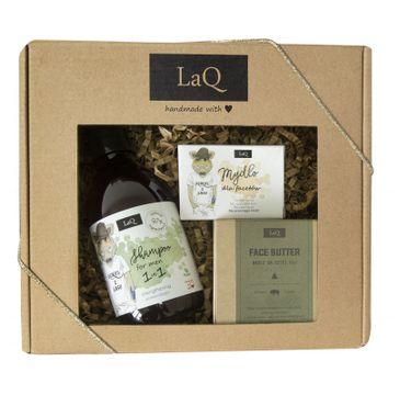 LaQ – zestaw kosmetyków dla mężczyzn – szampon do włosów (300 ml) + masło do pielęgnacji twarzy (50 ml) + mydełko w kostce (85 g)