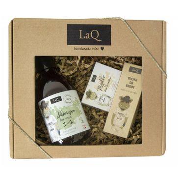 LaQ – zestaw kosmetyków dla mężczyzn – szampon do włosów (300 ml) + LaQ – olejek do brody (30 ml) + mydełko w kostce (85 g)