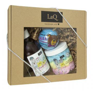 LaQ – zestaw kosmetyków dla dzieci żel do kąpieli (300 ml) + pianka do mycia ciała (250 ml) + kula do kąpieli (110 g)