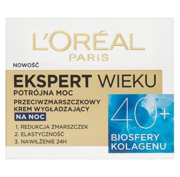 L'Oreal Paris Ekspert Wieku 40+ – przeciwzmarszczkowy krem wygładzający na noc (50 ml)