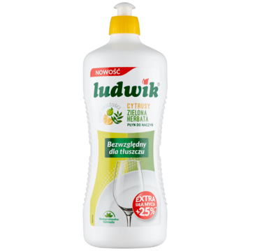 Ludwik Płyn do mycia naczyń Cytrusy i Zielona herbata (900 ml)
