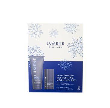 Lumene Men Raikas Refreshing Morning zestaw Hydrating 2in1 Body & Hair Wash 200ml + Protecting 24H Deodorant Stick 70g