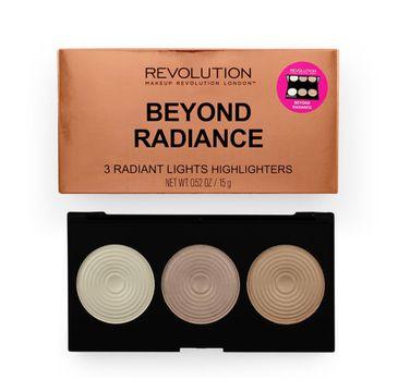 Makeup Revolution Beyond Radiance – zestaw 3 rozświetlaczy do twarzy (15 g)